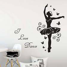 Home Garden Ballet Dancer Girl Lettering Wall Sticker Girls Room Dancing Room Art Wall Decal Decor Decals Stickers Vinyl Art