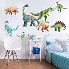 Amazon Com Dinosaur Watercolor Wall Decal Sticker Kit Large Tyrannosaurus Rex And Brachiosaurus Decals For Kids Rooms By Chromantics Kitchen Dining