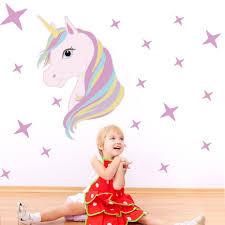 2019 New Cartoon Unicorn Wall Sticker Kid Room Wall Decal Cute Unicorn Bling Star Wall Decal Art Stickers Vinyl Home Room Decors Wall Stickers Aliexpress