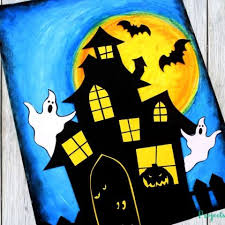 Oil Pastel Haunted House Craft Projects With Kids