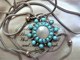 victorian turquoise mop silver antique