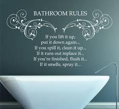 Bathroom Rules Quote Matt Vinyl Wall Art Sticker Decal Mural 90cm X 51 3cm 16 99 Via Etsy Bathroom Rules Bathroom Wall Decals Bathroom Rules Quotes