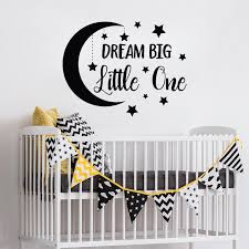Dream Big Little One Moon Removable Wall Stickers For Nursery Kids Bedroom Vinyl Decals Sweet Room Art Decor Poster Tree Wall Art Stickers Tree Wall Clings From Joystickers 12 21 Dhgate Com
