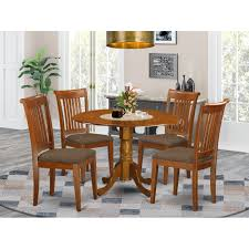 Shop Saddle Brown Small Kitchen Table Plus 4 Dinette Chairs 5 Piece Dining Set Overstock 10201099 Wood Seat