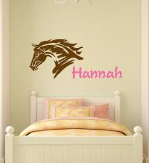 Horse Decal Mustang Wall Sticker Teen Girls Name Personalized Etsy