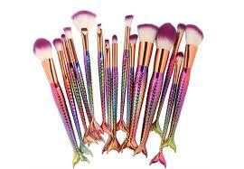 15 pieces mermaid makeup brushes kit