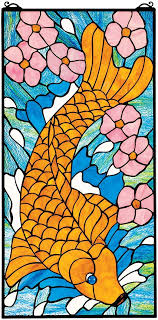 stained glass panel asian koi fish