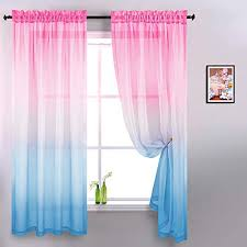 Baby Pink And Baby Blue Curtains For Girls Bedroom Decor Set 2 Ombre Window Sheer Gradient