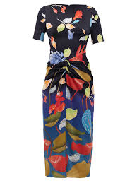 knotted front silk blend dress