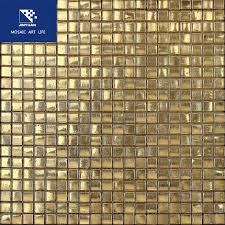 matte gold foil glass mosaic tile