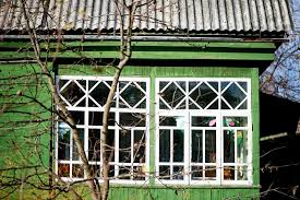 white windows glassed in porch stock