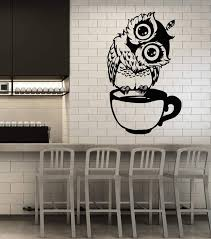 Vinyl Wall Decal Funny Cartoon Owl Cup Of Tea Coffee For Kitchen Stick Wallstickers4you