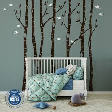 Tree And Bird Wall Decals For Nursery Girl Owl Branch Design Birch White Vamosrayos