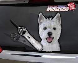 Westie West Highland White Terrier Waving Wipertags Decal For Rear Vehicle Wiper Blades Wipertags