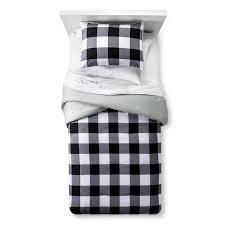white checd buffalo comforter set