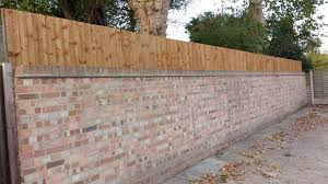 Close Board Feather Edge Fencing Used Above Existing Brick Wall Fence Brick Wall Garden Fence