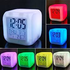 Kids Room Clocks Careshine Digital Alarm Thermometer Night Glowing Cube 7 Colors Clock Led Change Lcd You Digital Alarm Clock Alarm Clock Led Alarm Clock
