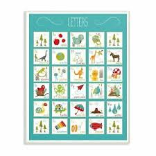 The Kids Room By Stupell Kids Alphabet Letter Chart Aqua Ebay