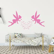 Amazon Com Fairy Wall Decor With Pixie Dust Personalized Fairy Decor Two Fairies Vinyl Wall Decal For Nursery Girls Bedroom Teen Or Tween Rooms Fairy Party Decorations Handmade