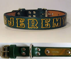 personalized green leather dog collar