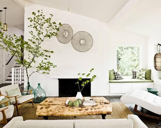 Ruang tamu gaya natural