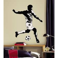 5 In X 19 In Soccer Player Peel And Stick Giant Wall Decal Black Soccer Themed Bedroom Boys Room Mural Sports Wall Decals