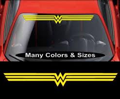 Wonder Woman Windshield Banner Vinyl Decal Window Sticker Gloss Silver Self Adhesive Yellow In 2020 Oracal Vinyl Wonder Vinyl Decals