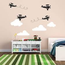 Amazon Com Juekui Airplane Wall Sticker Aircraft With Clouds Wall Decal For Baby Boys Bedroom Decoration Fighter Airplane Wall Decor Ws65 Black And White Arts Crafts Sewing