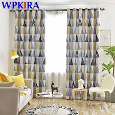 Nordic Modern Blackout Curtains Yellow Blue Strips Triangles Printed Window Drapes For Living Room Kids Bedroom Cortinas W Zh415 Curtains Aliexpress