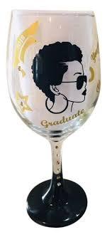 graduation lady wine glass