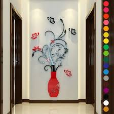 3d Vase Flower Crystal Acrylic Diy Wall Stickers Decal Home Bedroom Decoration For Sale Online