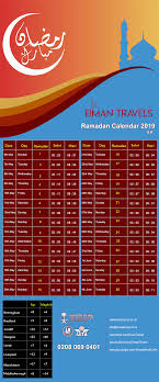 Timetable for UK Sahoor and Aftar Timing