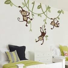 3 Monkeys Swinging From Vines Wall Decal Simple Shapes Family Tree Wall Sticker Nursery Wall Decals Kids Wall Decals