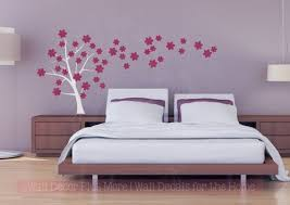 Tree Wall Decal Art With 3 Color Flowers Girls Room Decoration