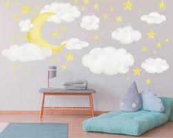 Moon Clouds Stars Nursery Wall Decal Night Sky Reusable Etsy