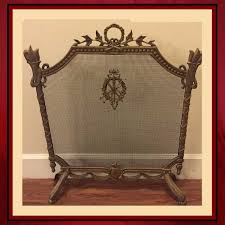 vintage ornate fireplace screen