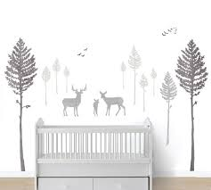 Deer And Pine Tree Wall Decals Eco Wall Decals