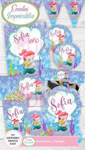 Kit Imprimible Sirenita Ariel Baby Invitaciones Decoracion