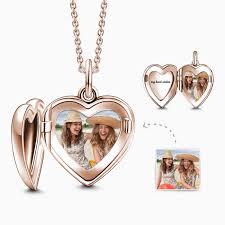 engraved heart photo locket necklace