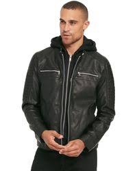 black rivet faux leather hooded knit