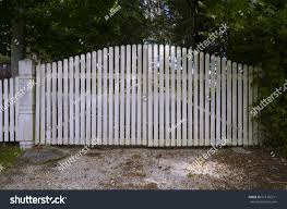 White Picket Fence Gate Into Private Stock Photo Edit Now 613160711