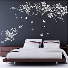 Large White Butterfly Vine Flower Vinyl Removable Wall Stickers Tree Wall Art