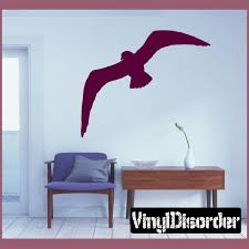 Graceful Flying Seagull Decal Flower Wall Decals Vinyl Wall Decals Memory Wall