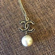 auth chanel gold black cc pendant pearl