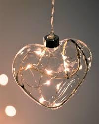 clear heart hanging glass light
