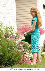 young watering flowers in front of