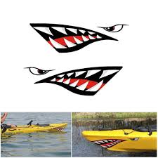 2pcs Large Shark Teeth Mouth Decal Sticker Kayak Boat Car Diy Funny Graphics Accessories