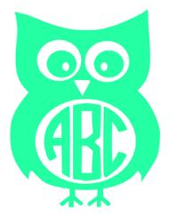 Owl Monogram Decal Victoriasmonograms