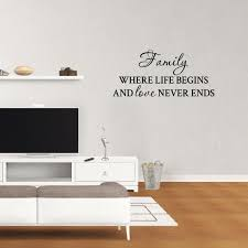 Wall Decal Quote Family Where Life Begins And Love Never Ends Sticker Bedroom Sign Xj187 Walmart Com Walmart Com