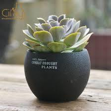 black cement plant pot with drum shape
